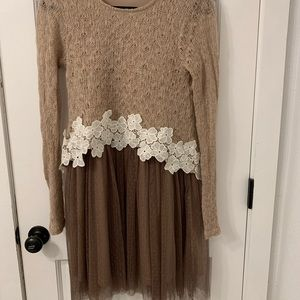 Long-Sleeve Wool and Tulle Dress in Dark Wisteria